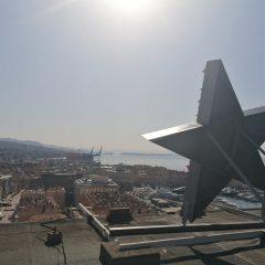 The monument to Red Rijeka erected on Rijeka skyscraper on the day of ZAVNOH's decision to reintegrate Rijeka into Croatia