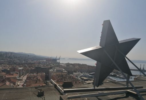 The monument to Red Rijeka erected on Rijeka skyscraper on the day of ZAVNOH's decision to reintegrate Rijeka into Croatia